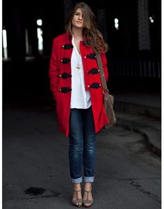 Classic denim & white with red statement coat