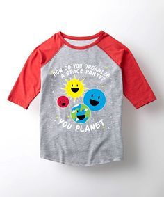 Athletic Heather & Red 'Space Party' Raglan Tee - Toddler & Kids