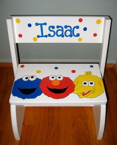 Sesame Street Theme Personalized Step stool by ArtworksByAmy, $50.00