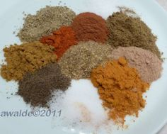 "Ras el Hanout Spice Mix A North African Spice and it's name translates loosely to ""House Blend"" It can contain as many as 50 ingredrients."
