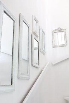 Staircase of mirrors   #gallerywall #walldecor #whites