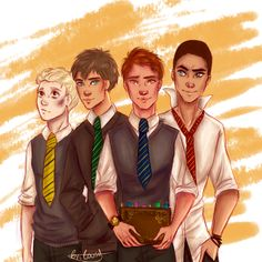 The raven boys + Hogwarts houses.I am obsessed with these idiots(Noah's design is actually very much inspired by the amazing azeher )
