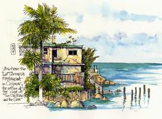 You just want to go there and have tea. And rum.  Urban Sketchers: Hemingway's Cuba: The View from La Terraza