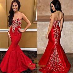 lindadress.com Offers High Quality Floor Length Red Strapless Mermaid Evening Dress With Embellishments,Priced At Only USD $145.00 (Free Shipping)