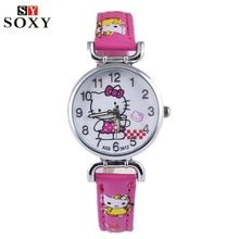 Smart New Women Watch Cute Kitty Pattern Fashion Rhinestone Quartz Watches Casual Cartoon Leather Clock Girls Kids Wristwatch Femme Watches
