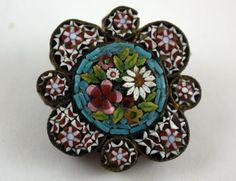 Vintage Victorian Era MICRO MOSAIC Glass Tile Detailed Pin