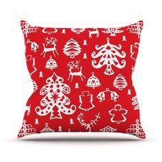 "Miranda Mol ""Warm Winter Red"" White Throw Pillow"