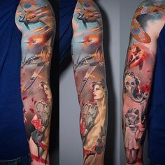 WW2 Full Sleeve with Dogfight | Best tattoo ideas & designs