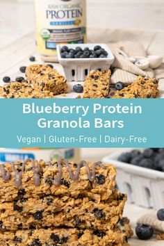 These Blueberry Protein Granola Bars are not only delicious, they are packed with nutritious goodness. Vegan Recipes, Snack Recipes, Dessert Recipes, Cooking Recipes, Healthy Treats, Healthy Desserts, Breakfast Dishes, Breakfast Recipes, Protein Snacks