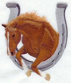 Horse Jumping Horseshoe  Embroidered Linen by EmbroideredbySue