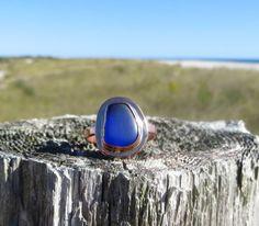 Sea Sapphire Copper Sea Glass Ring Cobalt Blue by by WaveofLife #seaglass, #ring, #cobalt, #blue, #cobaltblue, #beach, #jewelry