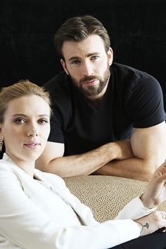 Chris Evans and Scarlett Johansson are photographed for Los Angeles Times on March 12, 2014 in Beverly Hills, California.
