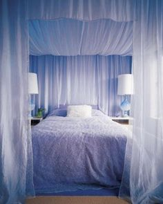 [ Amazing Canopy Bed Curtains Design Ideas Rilane With Curtain Rods Bedroom Luxury ] - Best Free Home Design Idea & Inspiration White Bedroom, Dream Bedroom, Periwinkle Bedroom, Pretty Bedroom, Master Bedroom, White Canopy, Canopy Bed Curtains, Canopy Bedroom, Fabric Canopy