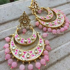 Latest Meenakari earrings - Latest Jewellery Design for Women Indian Jewelry Earrings, India Jewelry, Wedding Jewelry, Ethnic Jewelry, Silver Jewellery, Silver Rings, Trendy Jewelry, Jewelry Sets, Fashion Jewelry