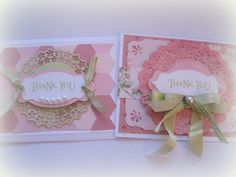 Cards, Thank You Greeting Card, Handmade Card, Hand Stamped Card, Card Set, Pink, Floral. $5.00, via Etsy.