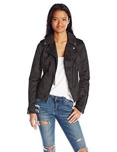 M Celebrity Pink Juniors Zip Front Vegan Leather Moto Style Jacket Jet Black