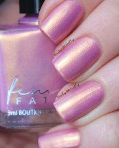 Femme Fatale - Rapunzel   Enchanted Fables   April 1-5, 2016   Rapunzel is an opaque medium pink with cool purple tones and golden overlay. Creamy and smooth,Rapunzel is opaque in 2-3 coats depending on your application style. Demure, fun and perfect for spring! swatched by @emilydemolly