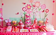 pinkalicious birthday party dessert table with flower backdrop - from Baby Lifestyles