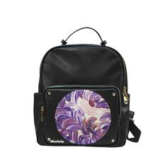 Purple Leaves with Gold Flakes Campus backpack/Small (Model 1650)