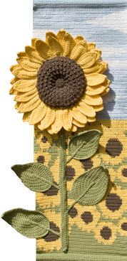 Sunflower for Autumn., One of the Four Seasons wall hangings set.  http://www.enfys.me.uk/crochet-patterns-for-the-home.htm#fourseasons