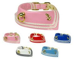 """Patent Leather Sailor Dog Collar [mp-PATSailor] - $11.00 :- Patent Leather  - Neck size 6"""" - 10"""" at 1/2"""" wide  - Neck size 10"""" - 16"""" at 5/8"""" wide  - Center Ring for I.D. tags  - anchor insignias"""