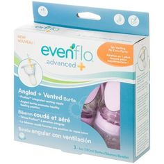Evenflo Advanced Angled 3 Bottle 9 oz New Vented 3 Months Age BPA Free   #Evenflo