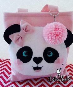 Fabric Bags, Felt Fabric, Felt Crafts, Paper Crafts, Sewing Crafts, Sewing Projects, Pillow Crafts, Panda Party, Diy Bebe