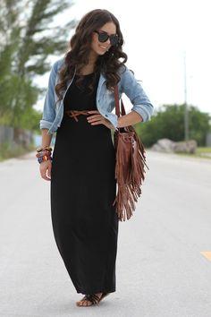 Black maxi dress with chambray shirt