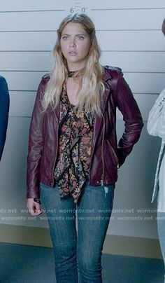 Hanna's floral ruffled front blouse and purple leather jacket on Pretty Little Liars Pretty Little Liars 7, Pretty Little Liars Fashion, Pll Outfits, Cute Outfits, Rebel Outfit, Purple Leather Jacket, Fashion Tv, Hanna Marin, Shay Mitchell