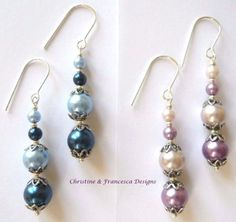 <3 Choice of 2 multi colours ♥ .925 Sterling Silver Glass Pearl Long Drop Dangle Hook Earrings + Gift Box & Organza Gift Bag ~ by Christine & Francesca Designs