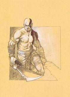 Kratos - God of War - Rafael de Latorre Kratos God Of War, Kratos Mortal Kombat, Video Game Art, Deviantart
