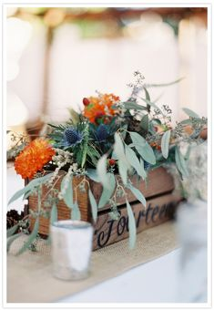 bouquets in crates - gorgeous colors