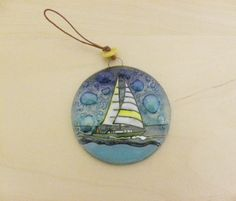Recycled Glass Hand Painted Christmas Tree Round by Etnochik