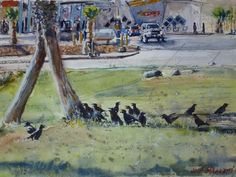 """Crow Gathering One of a kind Watercolor Original Painting  11"""" x 15""""    