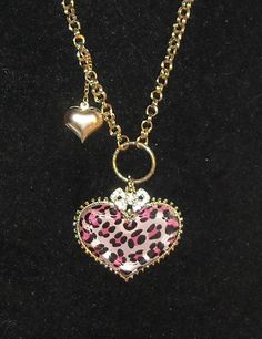 Betsey Johnson Purple Leopard Heart Necklace. Starting at $20 on Tophatter.com!
