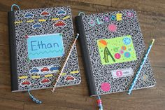 Decorate and personalize cheap compostion notebooks for a fun and funky way to encourage writing before school starts. Kara's Creative Place