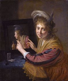 Girl at a mirror, by Paulus Moreelse  1632