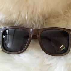 Proof sunglasses Stylish and eco friendly wayfarer style sunglasses. Grey lenses and brown wooden frame Proof brand. Comes in original wooden case and pouch. Proof Accessories Sunglasses