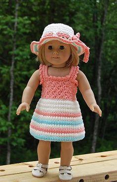 "Ravelry: ""Sweet & Sassy"" Doll Set ~ 4 piece set pattern by Jennifer Pionk Crochet Doll Dress, Crochet Doll Clothes, Knitted Dolls, Doll Clothes Patterns, Doll Patterns, My Life Doll Clothes, Barbie Clothes, American Girl Crochet, American Doll Clothes"