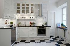 skandinavische Küche gestalten weiße Fliesen