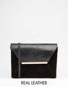 ASOS Vintage Leather Cross Body Bag With Metal Bar