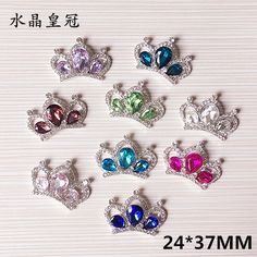 Bling Crystal Rhinestone Princess Crown Button Patch Stickers Silver Tone Rhinestone Alloy Phone Case Hair Jewelry Bow Decor