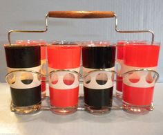 Georges Briard Tom Collins Glasses Black, Red and White, 8 w Metal Rack