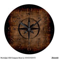 Nostalgic Old Compass Rose Large Clock