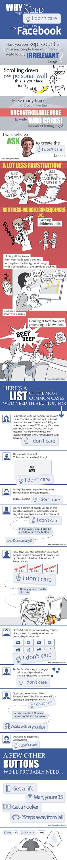 Why we need the I don't care button on Facebook #infografia #infographic #socialmedia