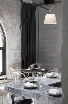 nice combination of grey colors + marbel for kitchen and dinning area