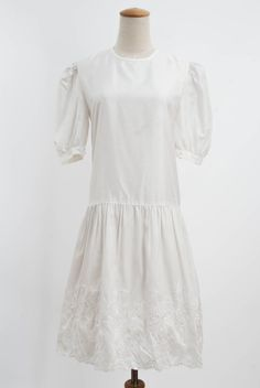 Vintage Pearl White Balloon Sleeves Drop Waisted Embroidery Floral Dress 1920s Style Shift Girl Wedding Prom Smock Dress