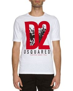DSQUARED2 PARTIES LOGO GRAPHIC T-SHIRT, WHITE. #dsquared2 #cloth #