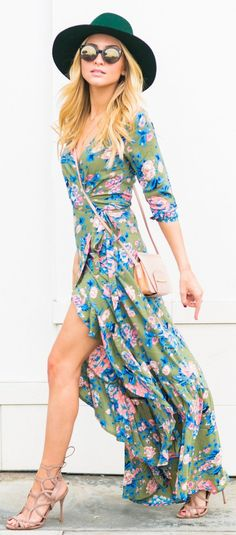 #spring #fashion / Green Hat / Green Flower Print Maxi Dress / Camel Sandals