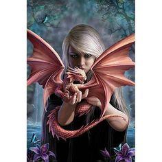 Fantasy Kunst, Gothic Fantasy Art, Fantasy Art Women, Beautiful Fantasy Art, Fantasy Artwork, Anne Stokes, Mythical Creatures Art, Fantasy Creatures, Dragon Dreaming